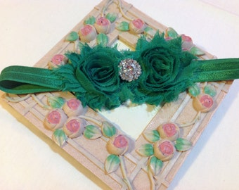 Christmas Headband, Green Shabby Chic Flowers on an Green Headband with Rhinestone/Pearl Embellishment, Infant to Adult