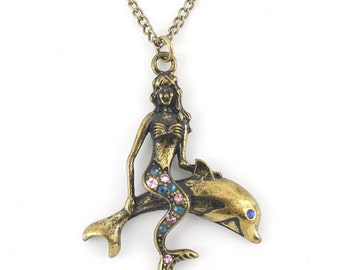 Gold-tone Vintage Feel Cute Mermaid/Sea-maid and Dolphin Pendant Necklace,R1
