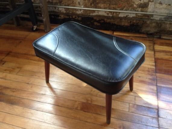 Vintage Mid Century Black Footstool With Walnut Legs Ottoman