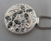 Silver Textured Flower Pendant - Hearts and Flowers sparkly Pendant *