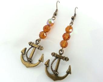 Unique Gift Ideas for Women, Bronze Anchor Earrings, Earrings for Daughter, Dangle Earrings, Nautical Earrings, Anchor Earrings, Gift Idea