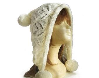 Womens knit hat,Women accessories,Mocha hoodie hat,hand knit hat,women hat,fashion accessories,ovesized knit,cream hat