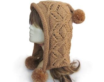 Hat,Mocha hoodie hat,hand knit hat,women hat,fashion accessories,ovesized knit,Pom Pom hat,valentine,winter hat
