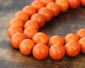 Magnesite Beads, Bright Orange, 8mm Round - 15 inch Strand - eGR-MG008-8