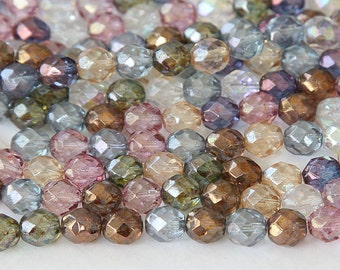 Multi Luster Mix Czech Glass Beads, 6mm Faceted Round - 50 pcs - e10-6x