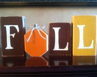Wood Fall Pumpkin Block set - Seasonal Home Decor for fall, halloween, and thanksgiving decorating