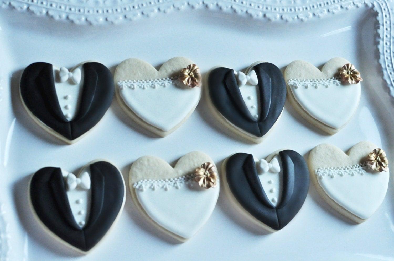 Orchid Bride And Groom Wedding Favor Cookies 1 Dozen 6 Pair Set Cookie Favors Bridal Shower