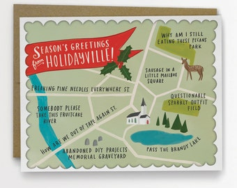 Holidayville - Funny Holiday Card, Map Card