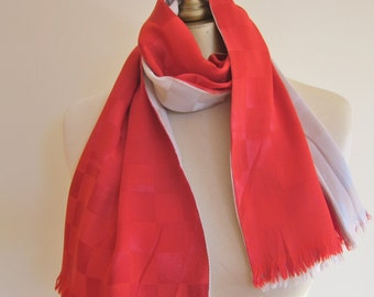 1940s mens scarf , REVERSIBLE  scarf, tuxedo scarf, long scarf, 49s fashion, men's vintage fashion, oblong  scarf, red and grey