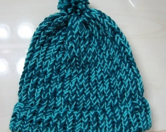 Turquoise and Teal Knitted Child Brim Hat with Pom Pom