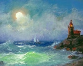 "309 - ""The Lighthouse"",  5""x 7"" original canvas giclee print"