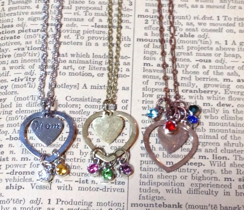 Personalized Birthstone Heart Mother's Day Hand Stamped Mom Necklace steampunk buy now online