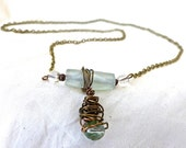 SEA GLASS COPPER-Wire Wrapped Necklace, Handmade, with crystal Beads, Metal Chain, Goddess Jewelry