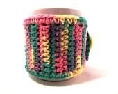 Crochet cup cozy handmade cup sleeve mixed colors Kaleidoscope