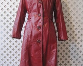 Womens Fashion Fall Red Leather Long Coat Jacket Size 12 Vintage WJ309se