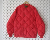 Men's Bauer Down Ultra Light Winter Snow Red Quilted Jacket Coat Vintage MJ171s