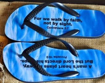Flip Flops, Inspirational Quotes, Bible, Faith, Lord, Jesus, Walk On Water, Proverbs, Corinthians , Beach Sandals