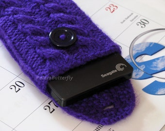 External Hard Drive/ Disk cover, Computer External Storage case, iPhone Xperia Z Droid DNA iPod Touch Samsung Nexus 5 7 bag Knit in Purple