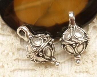 Vintage Look Silver Pewter Ball Drop Charm Pendant, Mykonos Casting Bead (2) - M60 - X3799