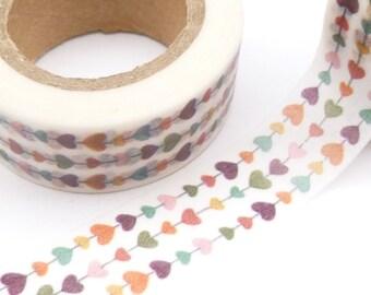 Tiny, Colorful Heart Chain Washi Tape - CC1041