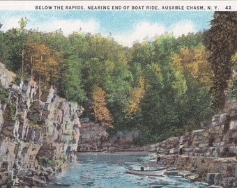Vintage Antique Postcard - NEW YORK - Below the Rapids, Nearing the End of the Boat Ride - Ausable Chasm - UNUSED
