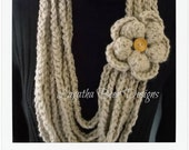 Chain loop flower scarf pattern - PDF61 - instant download