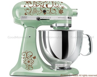 "KitchenAid Mixer Decals - Original ""Flutterby"" Design- Vinyl Stickers for Stand Mixer Appliance"