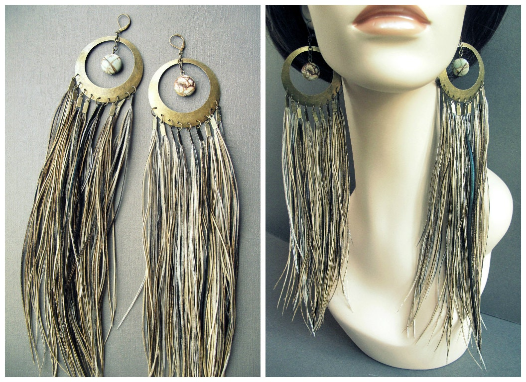Large Feather Earrings Extra Long Feather Hoop Earrings