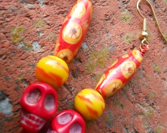 The Real Dia de Los Muertos skull dangle earrings with vintage and bamboo beads, two styles
