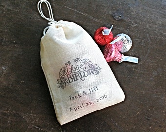 Hand stamped wedding favor bags, 3x4.5. Set of 50 double drawstring muslin bags. Love birds peacock design with names and wedding date.