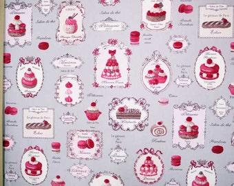 Yuwa Japanese Fabric Gray / Cute Macaron Petit Cakes PATISSERIE Design Oxford Fabric - 50cm x 110cm