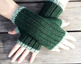 Forest Green Fingerless Gloves with Mint Green Trim