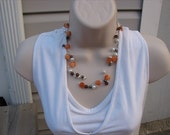 JEWELRY SALE-  Beaded Floating-Style Necklace- Orange, Brown, Pearl- only 1 available