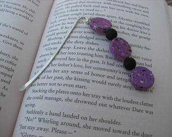 JEWELRY SALE- Beaded Bookmark Purple, Black