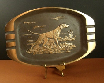 OOAK Solid Bronze Tray Ashtray // Sporting Pointer Dog // from Successionary
