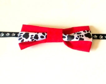 Pet Bow Tie, Made to Order, Small Dog Bow Tie, Dog Bow Tie, Cat Bow Tie, Paw Print Dog,  Dog Necktie, Pet Necktie, Pet Nreckwear, Pet Items