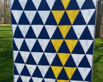 Modern Triangle Quilt for a Baby Boy.