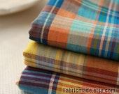 "Bright Rainbow Plaid Cotton Fabric Light Weight Summer Fabric- 1/2 yard 18""X59"""