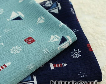 Japanese Wrinkled Cotton Fabric Navy Grey Blue Cotton With Anchor Sailing Boat-  1/2 yard
