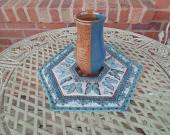 Small Teal and Brown Table Topper