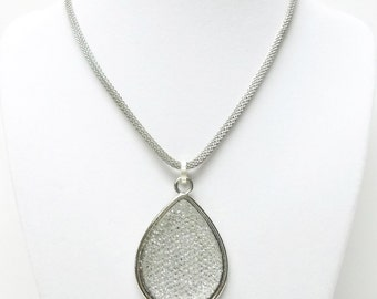 Sparkling Crystal Water Drop Pendant Necklace