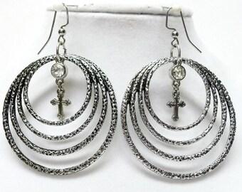 Silver Plated Multi Circles w/Rhinestone & Cross Earrings Set
