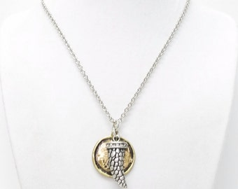 Petite Silver Plated Horn w/Rhinestones Cap Pendant Necklace