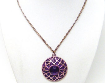Round Copper Pendant w/Large Purple Rhinestone Necklace
