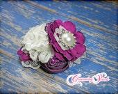 Plum, Fuchsia, Ivory Headband, Purple Hair Accessory, Lace, Bridesmaid Hair Piece, Cream, Flower Hair Clip, Fabric Flower, Flower Girl Clip