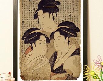 Japanese Geisha group kimono - Vintage Japan paper Dictionary Print