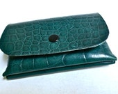 Little jade green croc embossed leather wallet / coin purse, bare essentials wallet