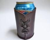 Leather beverage can holder, beer can holder
