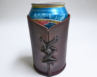 Leather beverage can holder, beer can holder