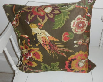 "Beautiful 18"" pillow cover browns greens orange white"